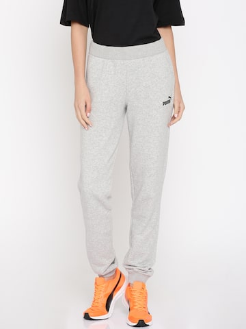 Puma Women Grey Melange ESS No.1 Sweat Regular Fit Joggers Puma Track Pants at myntra