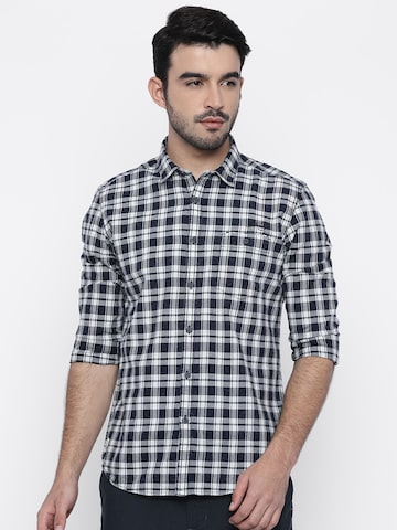 Ed Hardy Men Navy Blue & Off-White Regular Fit Checked Casual Shirt Ed Hardy Shirts at myntra
