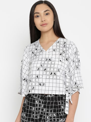 Global Desi Women White & Black Printed Wrap Top Global Desi Tops at myntra