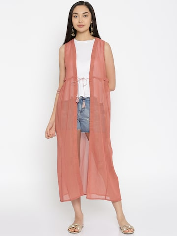 Global Desi Peach & Gold-Toned Striped Shrug Global Desi Shrug at myntra