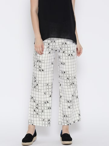 Global Desi Women White & Black Checked Casual Trousers at myntra