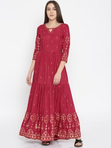 Global Desi Women Magenta Printed Maxi Dress Global Desi Dresses at myntra