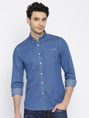 GAS Men Blue Classic Slim Fit Solid Casual Chambray Shirt GAS Shirts at myntra