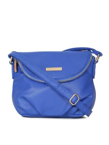 Addons Blue Solid Sling Bag Addons Handbags at myntra