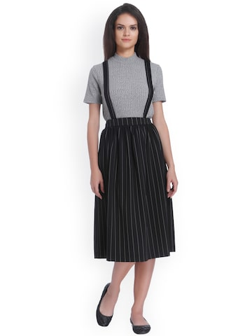 ONLY Black & Off-White Striped A-Line Skirt With Detachable Suspenders ONLY Skirts at myntra