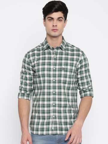 U.S. Polo Assn. Men Green & White Tailored Fit Checked Casual Shirt U.S. Polo Assn. Shirts at myntra