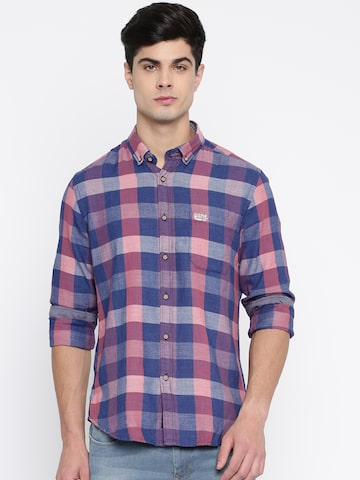 U.S. Polo Assn. Men Blue & Peach Regular Fit Checked Casual Shirt U.S. Polo Assn. Shirts at myntra