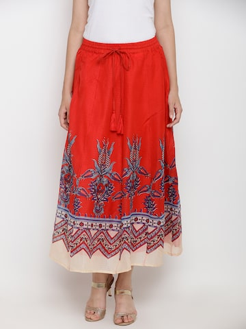AKKRITI BY PANTALOONS Red & Blue Printed Flared Maxi Skirt AKKRITI BY PANTALOONS Skirts at myntra