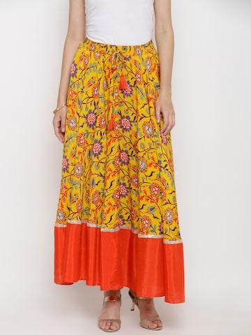 Biba Yellow & Red Floral Print Flared Maxi Skirt Biba Skirts at myntra