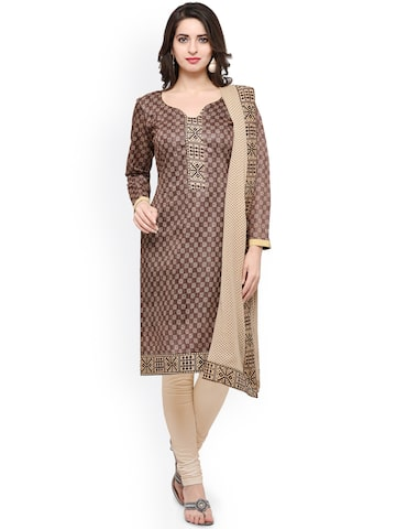 Inddus Brown & Cream-Coloured Cotton Blend Unstitched Dress Material Inddus Dress Material at myntra