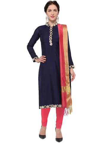 Inddus Navy Blue & Pink Chanderi Cotton Blend Unstitched Dress Material at myntra