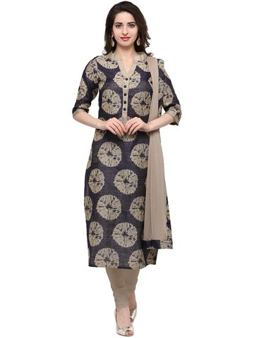 Inddus Blue & Beige Cotton Blend Unstitched Dress Material at myntra