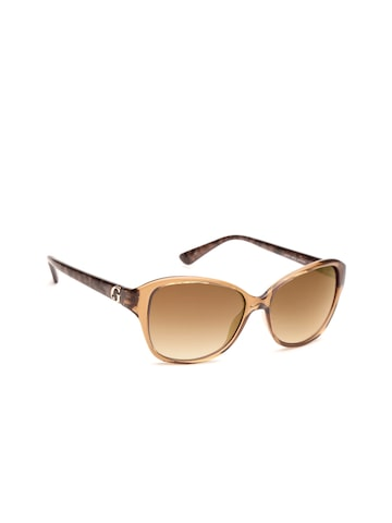 GUESS Unisex Rectangle Sunglasses 7355 BRN34 57 GUESS Sunglasses at myntra