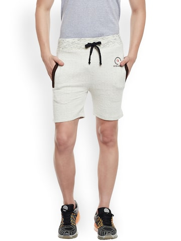 Rodamo Men Off-White Solid Slim Fit Regular Shorts Rodamo Shorts at myntra