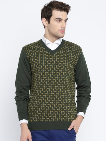 Raymond Men Green Self-Design Pullover Raymond Sweaters at myntra