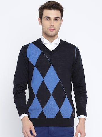 Raymond Men Navy Patterned Sweater Raymond Sweaters at myntra