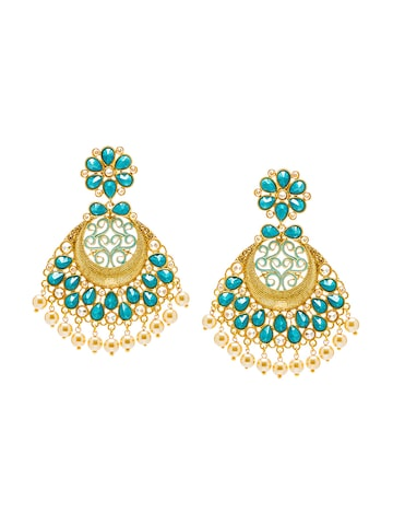 Sia Art Jewellery Gold-Plated & Blue Classic Drop Earrings Sia Art Jewellery Earrings at myntra