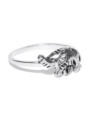 Accessorize Oxidised Silver-Toned Rhinoceros-Shaped Ring Accessorize Ring at myntra