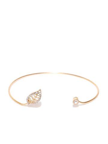 Accessorize Gold-Toned Stone-Studded Cuff Bracelet Accessorize Bracelet at myntra