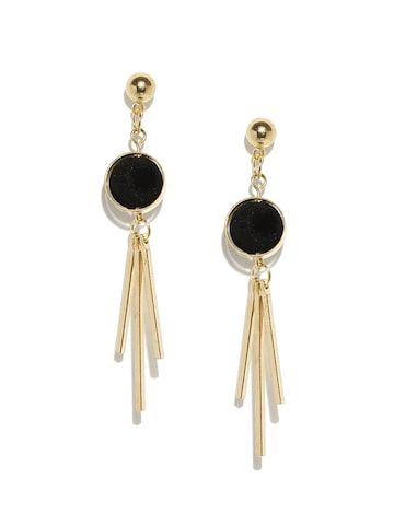 ToniQ Black & Gold-Toned Geometric Drop Earrings ToniQ Earrings at myntra