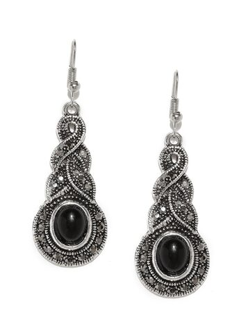 ToniQ Oxidised Silver-Toned & Black Beaded Contemporary Drop Earrings ToniQ Earrings at myntra