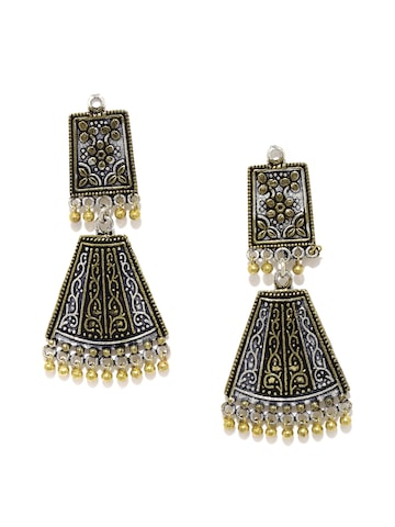 Rubans Oxidised Silver-Toned & Antique Gold-Toned Drop Earrings Rubans Earrings at myntra