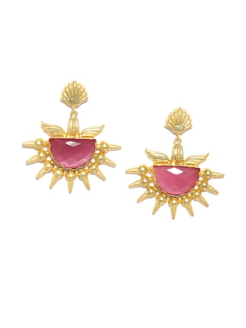 Rubans Gold-Toned & Pink Agate Stone-Studded Contemporary Drop Earrings Rubans Earrings at myntra