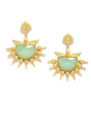 Rubans Gold-Toned & Mint Green Agate Stone-Studded Drop Earrings Rubans Earrings at myntra