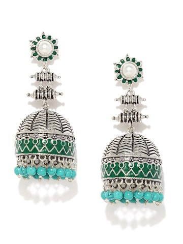 Rubans Oxidised Silver-Plated & Green Beaded Dome-Shaped Jhumkas Rubans Earrings at myntra