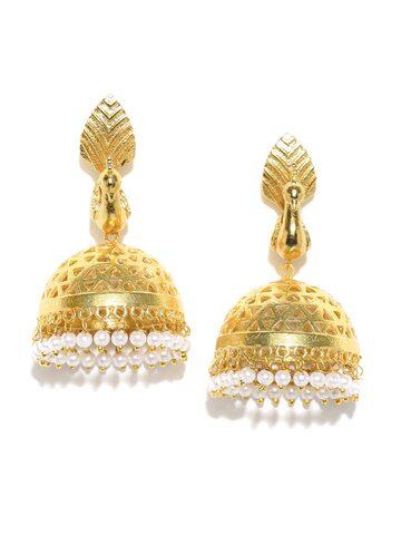 Rubans Gold-Toned Embellished Peacock-Shaped Jhumkas Rubans Earrings at myntra