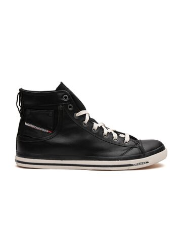 DIESEL Men Black Solid Mid-Top Sneakers DIESEL Casual Shoes at myntra