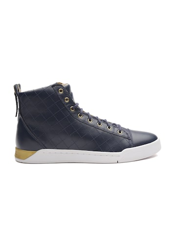 DIESEL Men Navy Cow Leather Textured Mid-Top Sneakers DIESEL Casual Shoes at myntra