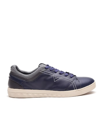 DIESEL Men Navy Blue Cow Leather Sneakers DIESEL Casual Shoes at myntra