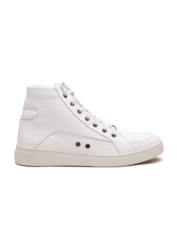 DIESEL Men Off-White Cow Leather Textured Mid-Top Sneakers DIESEL Casual Shoes at myntra