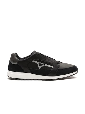 DIESEL Men Black & Grey Colourblocked Cow Leather Sneakers DIESEL Casual Shoes at myntra