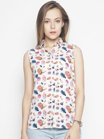 Voi Jeans Women Multicoloured Regular Fit Printed Casual Shirt Voi Jeans Shirts at myntra