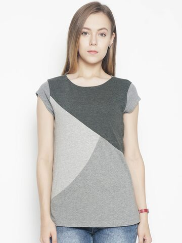 Voi Jeans Women Grey Colourblocked Round Neck T-shirt Voi Jeans Tshirts at myntra