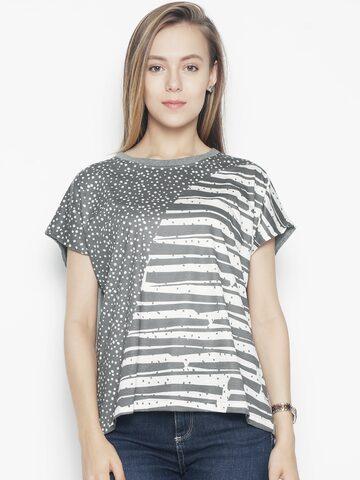 Voi Jeans Women Grey Printed Round Neck T-shirt Voi Jeans Tshirts at myntra