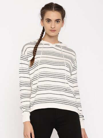 Levis Women Cream-Coloured & Black Striped Hooded Sweatshirt Levis Sweatshirts at myntra
