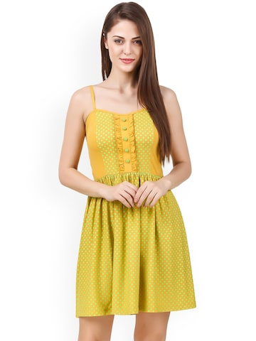 Texco Women Yellow Printed A-Line Dress Texco Dresses at myntra