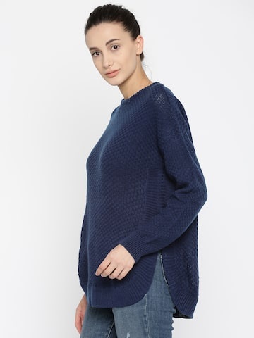 Pepe Jeans Women Navy Blue Solid Pullover Pepe Jeans Sweaters at myntra