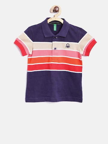United Colors of Benetton Boys Purple Striped Polo Collar T-shirt United Colors of Benetton Tshirts at myntra