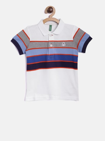 United Colors of Benetton Boys White & Blue Striped Polo T-shirt United Colors of Benetton Tshirts at myntra