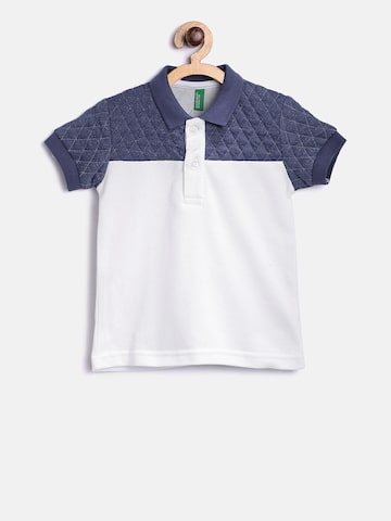 United Colors of Benetton Boys White & Navy Colourblocked Polo Collar T-shirt United Colors of Benetton Tshirts at myntra