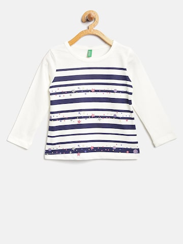 United Colors of Benetton Girls White & Navy Striped Round Neck T-shirt United Colors of Benetton Tshirts at myntra