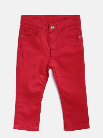 United Colors of Benetton Boys Red Clean Look Stretchable Jeans at myntra