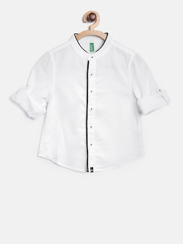 United Colors of Benetton Boys White Solid Casual Shirt at myntra