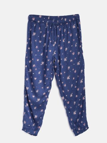 United Colors of Benetton Girls Navy Blue Loose Fit Printed Joggers at myntra