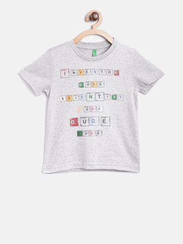 United Colors of Benetton Boys Grey Melange Printed Round Neck T-shirt United Colors of Benetton Tshirts at myntra