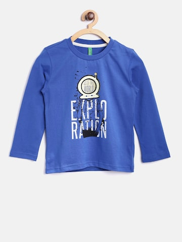 United Colors of Benetton Boys Blue Printed Round Neck T-shirt United Colors of Benetton Tshirts at myntra
